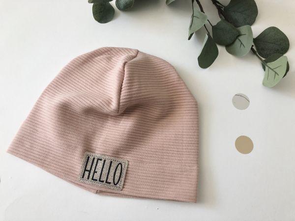 Mütze Rib Jersey rosa HELLO
