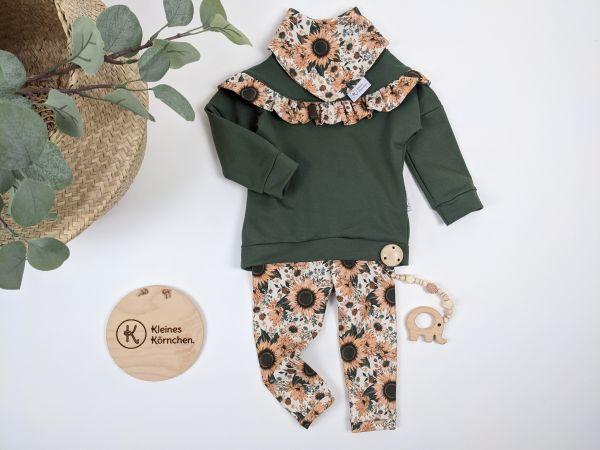 Dainty Sweater Grün mit Sonnenblumen