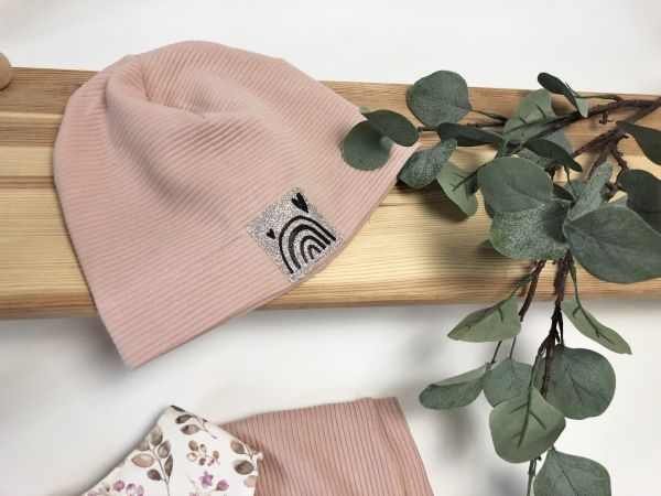 Mütze Rib Jersey rosa Regenbogen