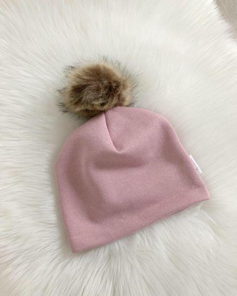 Mütze rosa Glitzer mit Kunstfellbommel