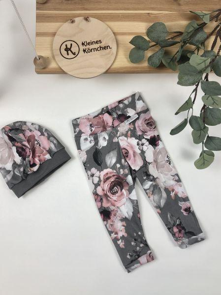 Leggings Grey Flowers